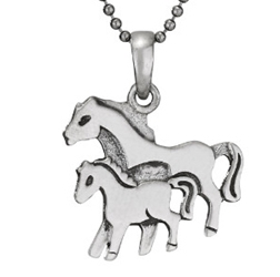 18in Sterling Mare & Foal necklace by Tiger Mtn