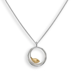 18in Be-Leaf Sterling & 14k necklace by Ed Levin