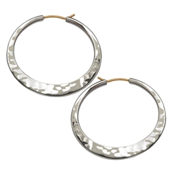 Sterling Hand Hammered hoop by Ed Levin