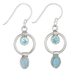 Sterling bl.topaz/chalcedony earring by Tiger Mtn