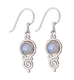Sterling rainbow moonstone earring by Tiger Mtn