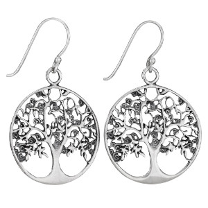 Sterling rnd oak tree earring by Tiger Mtn
