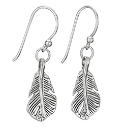 Sterling sm feather earring by Tiger Mtn