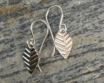 Sterling leaf earring by M. Anderson